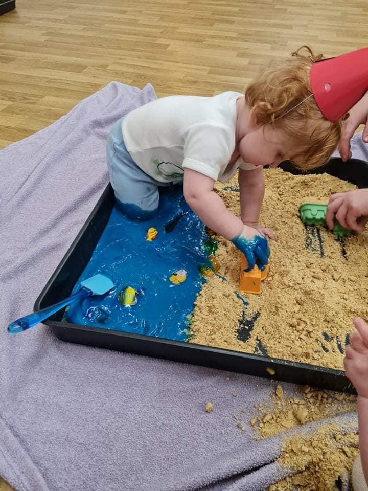 Messy Play Tray idea - Beach themed